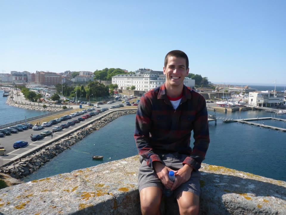 Reid at a castle in La Coruña