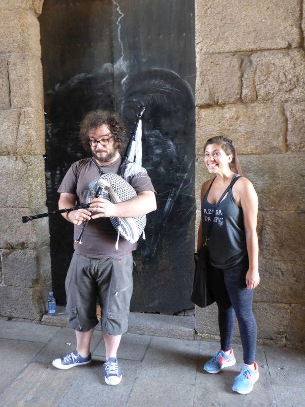 Hailey & a bag piper in Santiago de Compostela!