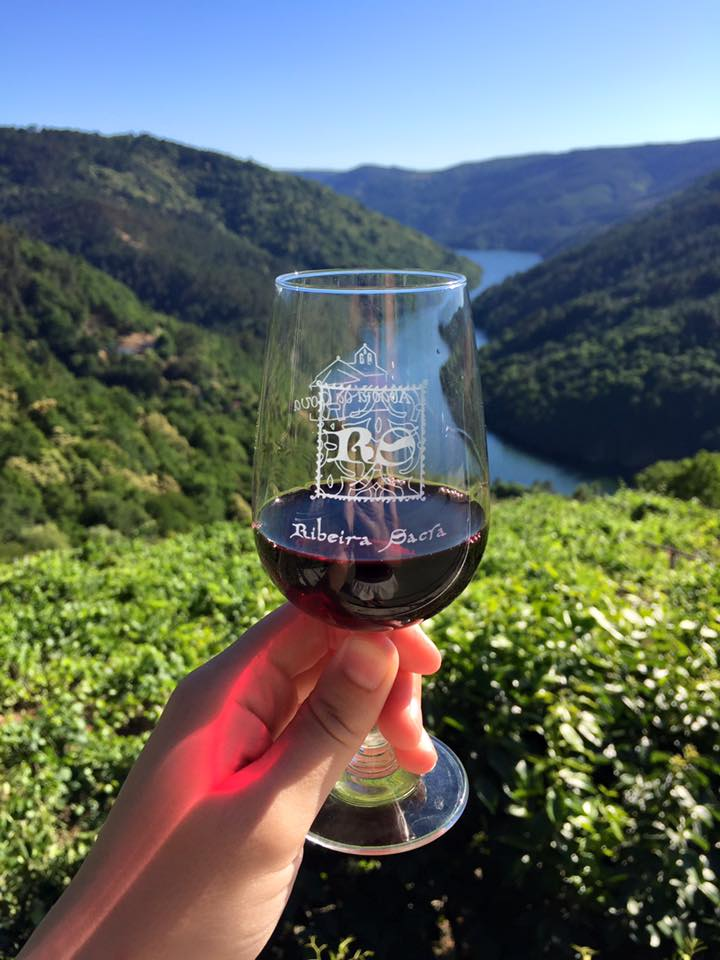 Wine tasting in Ribeira Sacra, Spanish wine country.