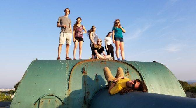 Students in Spain on a bunker during study abroad program